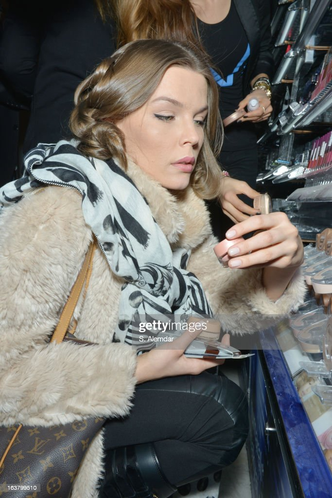A model backstage ahead of the Best of Mercedes Benz Fashion Week Istanbul Fall/Winter 2013/14 at Antrepo 3 on March 16, 2013 in Istanbul, Turkey.