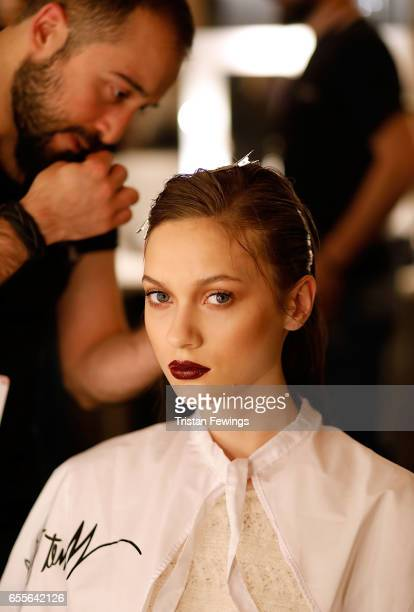 A model backstage ahead of the Burce Bekrek show during MercedesBenz Istanbul Fashion Week March 2017 at Grand Pera on March 20 2017 in Istanbul...