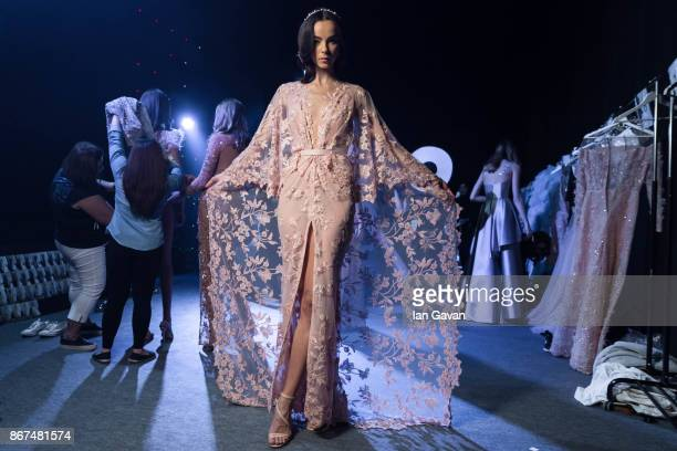 A model backstage ahead of the Joao Rolo International show during Fashion Forward October 2017 held at the Dubai Design District on October 28 2017...