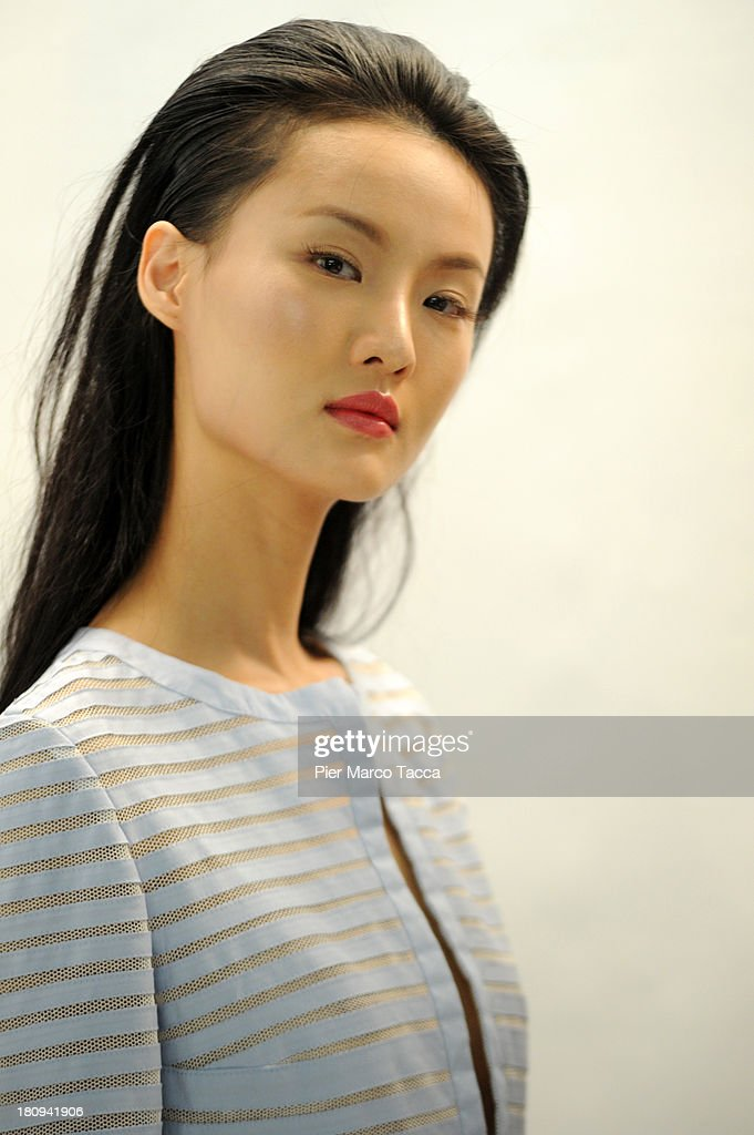 A model backstage ahead of the Luisa Beccaria show as a part of Milan Fashion Week Womenswear Spring/Summer 2014 on September 18, 2013 in Milan, Italy.