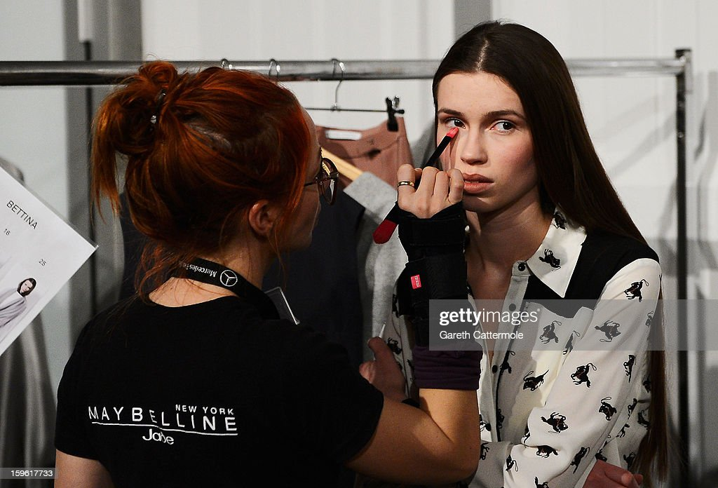 A model backstage ahead of the Michael Sontag Autumn/Winter 2013/14 fashion show during Mercedes-Benz Fashion Week Berlin at Brandenburg Gate on January 17, 2013 in Berlin, Germany.