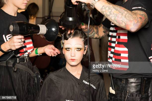 A model backstage ahead of the Michaela Frankova runway during London Fashion Week September 2017 on September 15 2017 in London England