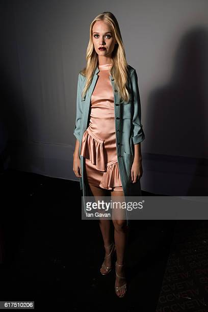 A model backstage ahead of the Orkalia presentation during Fashion Forward Spring/Summer 2017 at the Dubai Design District on October 23 2016 in...