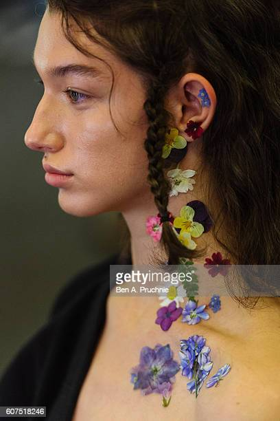 A model backstage ahead of the Preen by Thornton Bregazzi runway show during London Fashion Week Spring/Summer collections 2017 on September 18 2016...
