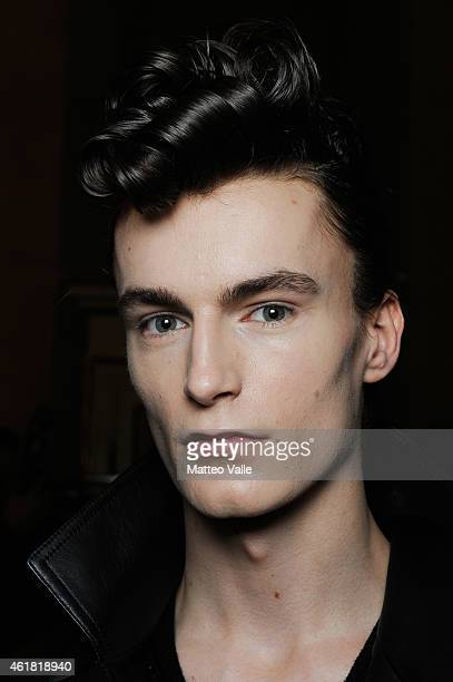 A model backstage ahead of the Roberto Cavalli show as a part of Milan Menswear Fashion Week Fall Winter 2015/2016 on January 20 2015 in Milan Italy