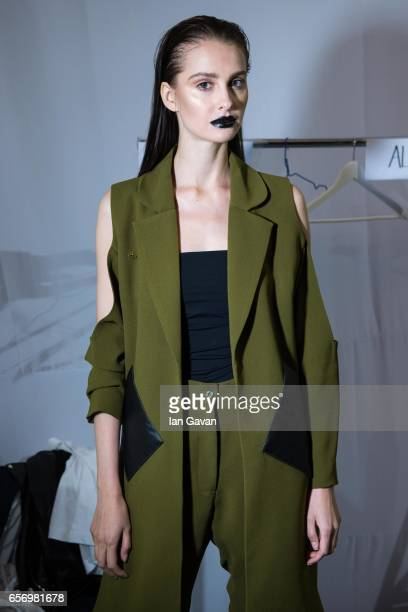 A model backstage ahead of the Royaled by RH presentation at Fashion Forward March 2017 held at the Dubai Design District on March 23 2017 in Dubai...