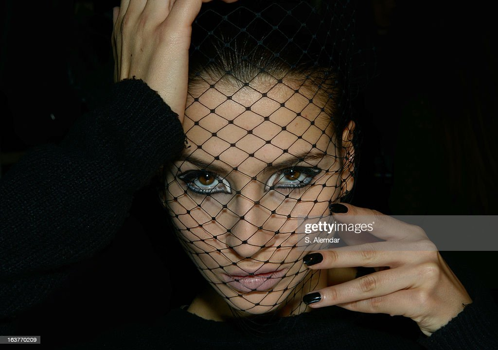 A model backstage ahead of the Selma State show during Mercedes-Benz Fashion Week Istanbul Fall/Winter 2013/14 at Antrepo 3 on March 15, 2013 in Istanbul, Turkey.