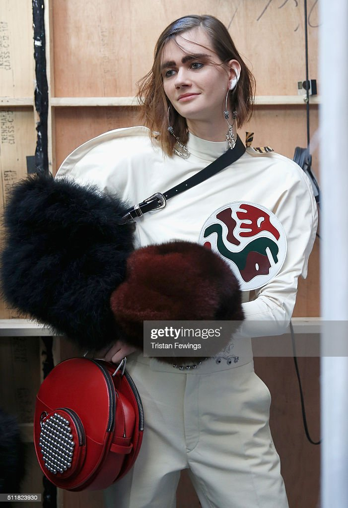 A model backstage ahead of the Toga show during London Fashion Week Autumn/Winter 2016/17 at Brewer Street Car Park on February 23 2016 in London...