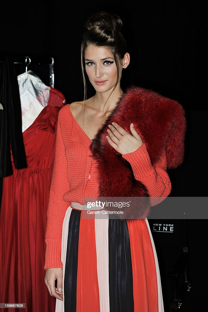 A model backstage ahead of the Zoe Ona Autumn/Winter 2013/14 fashion show during Mercedes-Benz Fashion Week Berlin at Brandenburg Gate on January 18, 2013 in Berlin, Germany.