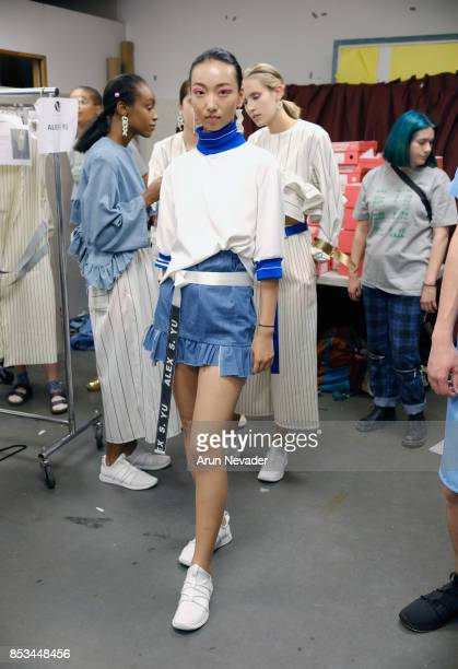 A model backstage at 2017 Vancouver Fashion Week Day 7 on September 24 2017 in Vancouver Canada