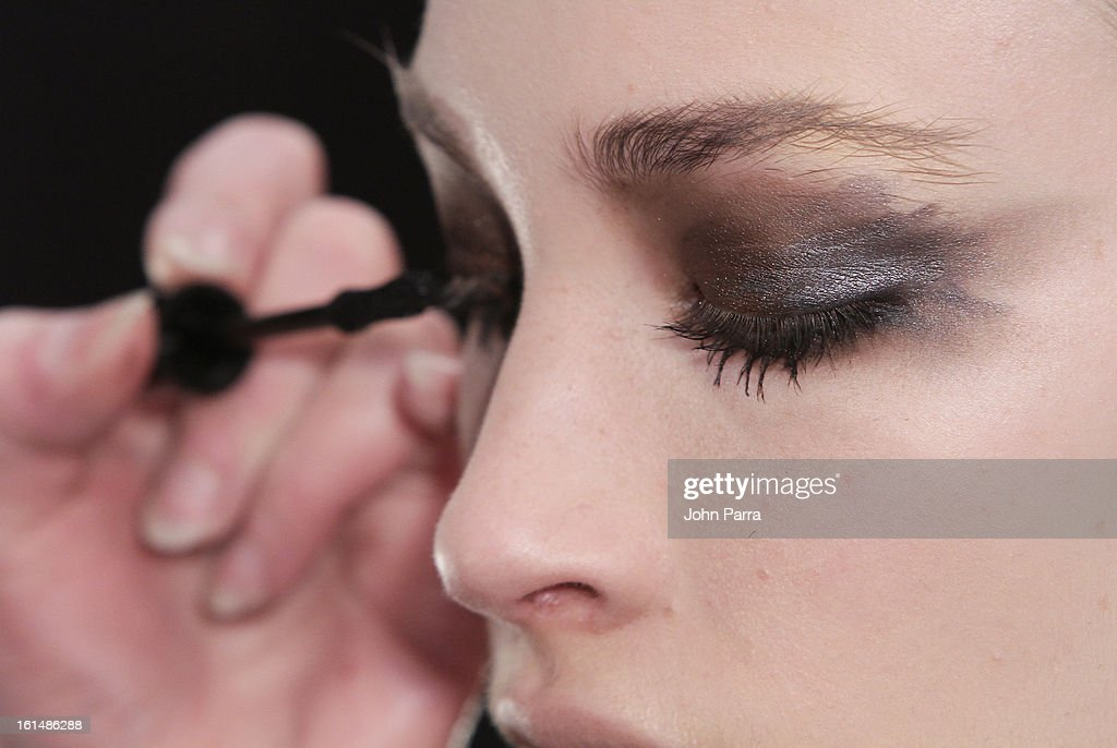 Model backstage at NYX Cosmetics Official Makeup Sponsor of Hernan Lander Fall 2013 Presentation with Lead Makeup Artist Tina Turnbow at Lincoln...