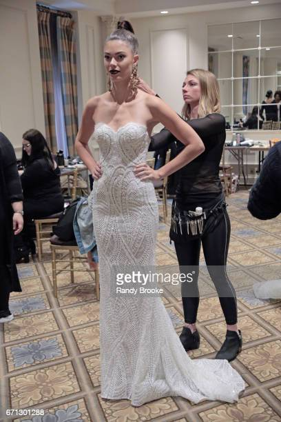 A model backstage at the Berta Runway show during New York Fashion Week Bridal April 2017 at The Plaza Hotel on April 21 2017 in New York City
