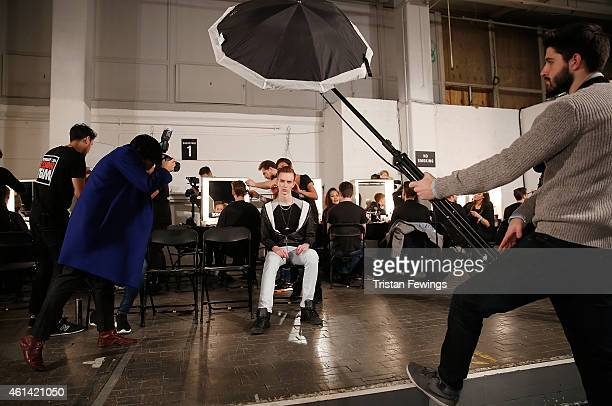 A model backstage at the ETautz show at the London Collections Men AW15 at The Old Sorting Office on January 12 2015 in London England