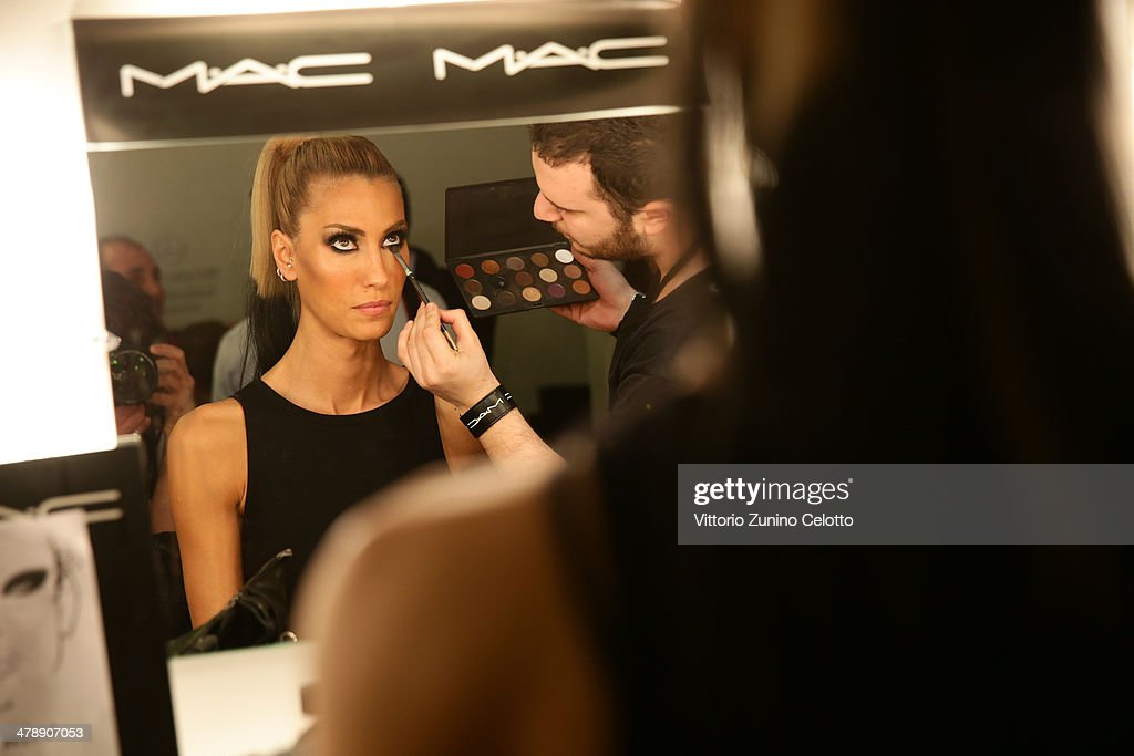 A model backstage at the Hakan Akkaya show during MBFWI presented by American Express Fall/Winter 2014 on March 15, 2014 in Istanbul, Turkey.