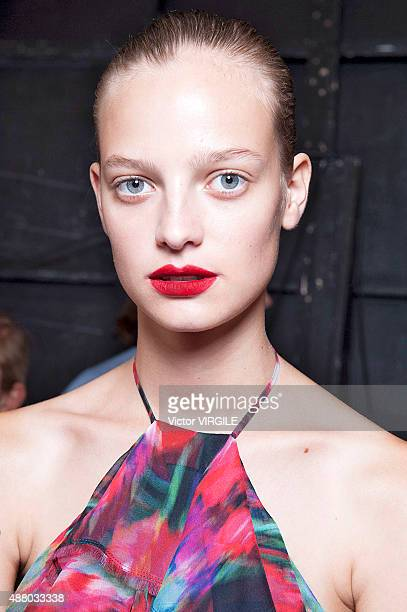 A model backstage at the Jason Wu fashion show during the Spring Summer 2016 New York Fashion Week on September 11 2015 in New York City