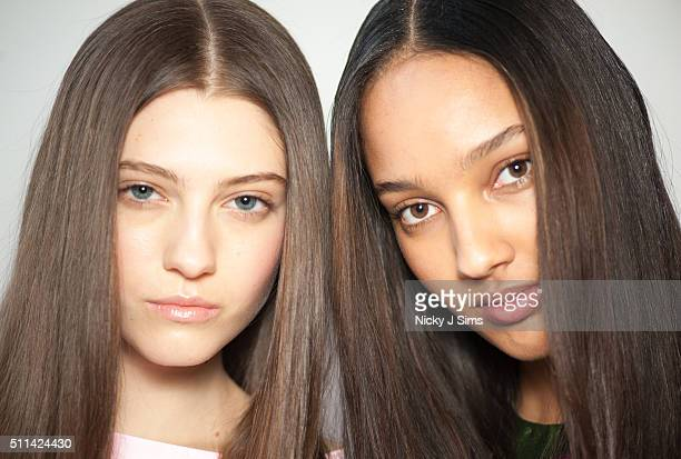 A model backstage at the Jasper Conran show during London Fashion Week Autumn/Winter 2016/17 at on February 20 2016 in London England