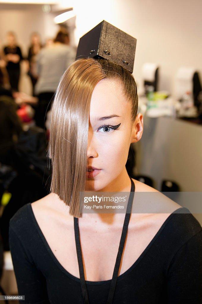 A model backstage at the Julien Fournie Spring/Summer 2013 Haute-Couture show as part of Paris Fashion Week at Cite de l'Architecture et du Patrimoine on January 22, 2013 in Paris, France.