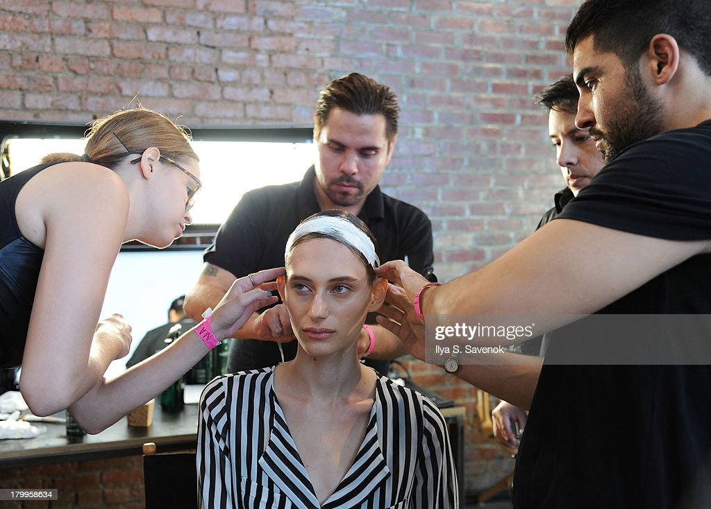 A model backstage at the Louise Goldin fashion show during MADE Fashion Week Spring 2014 at Milk Studios on September 7, 2013 in New York City.