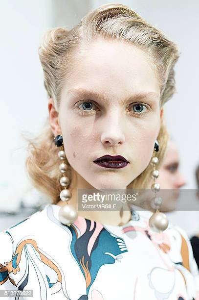 A model backstage at the Marni fashion show during Milan Fashion Week Fall/Winter 2016/2017 on February 28 2016 in Milan Italy