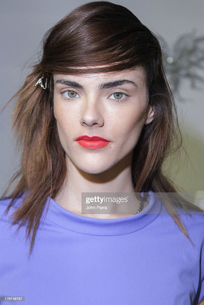 A model backstage at the NYX Cosmetics Official Makeup Sponsor of Chadwick Bell Spring/Summer 2014 at Hosfelt Gallery on September 6, 2013 in New York City.