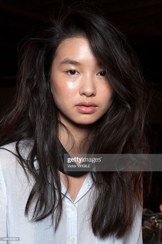 A model backstage at the Opening Ceremony Spring Summer 2016 fashion show during the New York Fashion Week on September 13 2015 in New York City