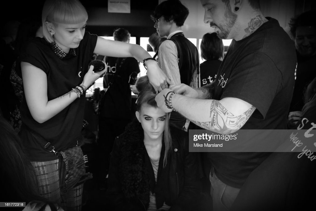 A model backstage at the PPQ show during London Fashion Week Fall/Winter 2013/14 at Somerset House on February 15, 2013 in London, England.
