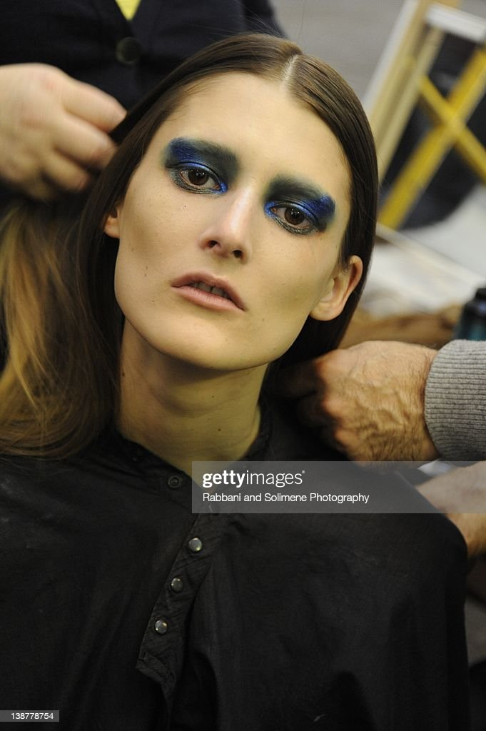 Model backstage at the Prabal Gurung fall 2012 fashion show during Mercedes-Benz Fashion Week at the IAC Building on February 11, 2012 in New York City.