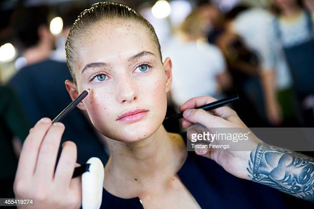 A model backstage at the Preen By Thornton Bregazzi show during London Fashion Week Spring Summer 2015 on September 14 2014 in London England