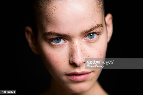 A model backstage at the Preen show during London Fashion Week Spring Summer 2015 at on September 14 2014 in London England