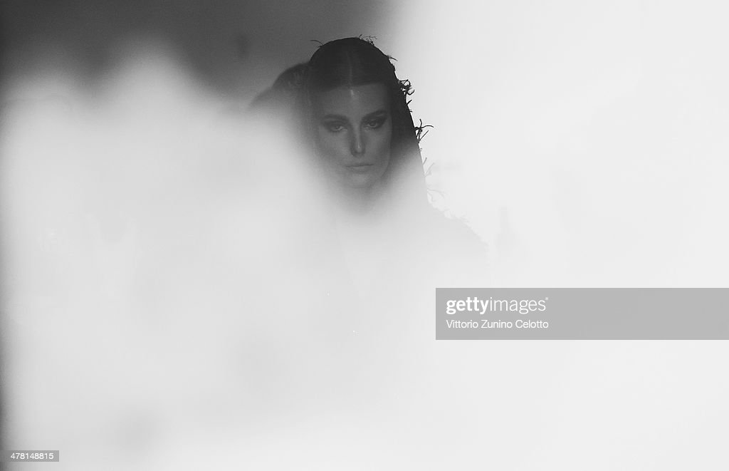 A model backstage at the Raisa-Vanessa Sason show during MBFWI presented by American Express Fall/Winter 2014 on March 11, 2014 in Istanbul, Turkey.
