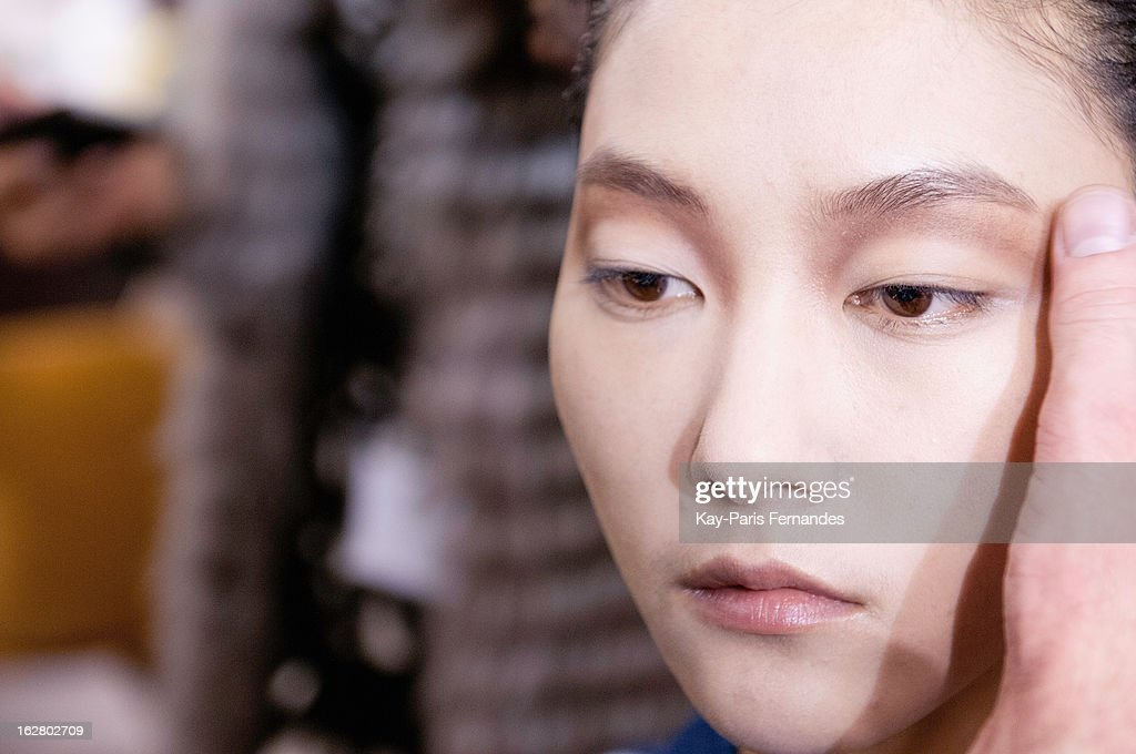 A model backstage at the Rue Du Mail Fall/Winter 2013 Ready-to-Wear show as part of Paris Fashion Week on February 27, 2013 in Paris, France.