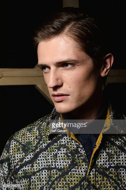 A model backstage at the Serdar Uzuntas show during MBFWI presented by American Express Fall/Winter 2014 on March 13 2014 in Istanbul Turkey