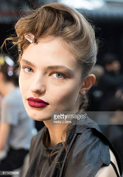 Model backstage at the Sibling show during London Fashion Week Autumn/Winter 2016/17 at on February 20 2016 in London England