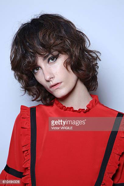 A model backstage at the Vivetta Ready to Wear show Milan Fashion Week Spring/Summer 2017 on September 24 2016 in Milan Italy