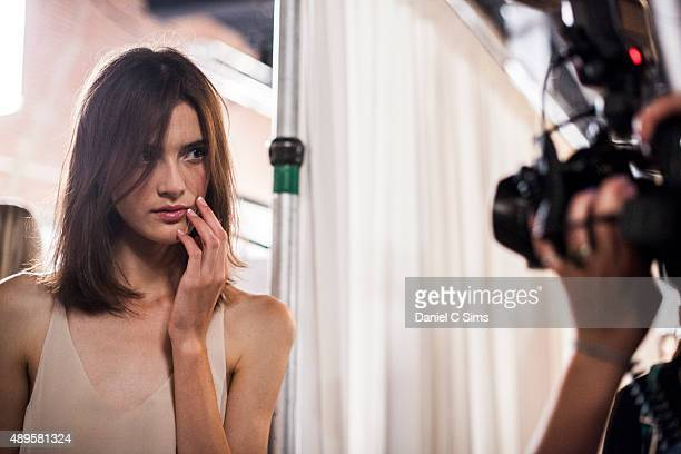 A model backstage backstage at the Tibi SS16 show part of New York Fashion Week Spring/Summer 2016 on September 12 2015 in New York City