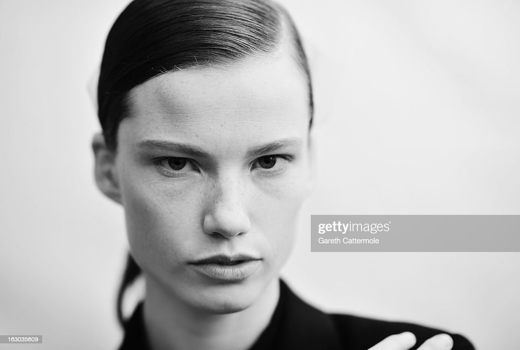 A model backstage before the Chloe Fall/Winter 2013 Ready-to-Wear show as part of Paris Fashion Week on March 3, 2013 in Paris, France.