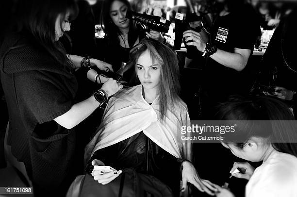 A model backstage before the JeanPierre Braganza show as part of London Fashion Week Fall/Winter 2013/14 at Somerset House on February 15 2013 in...