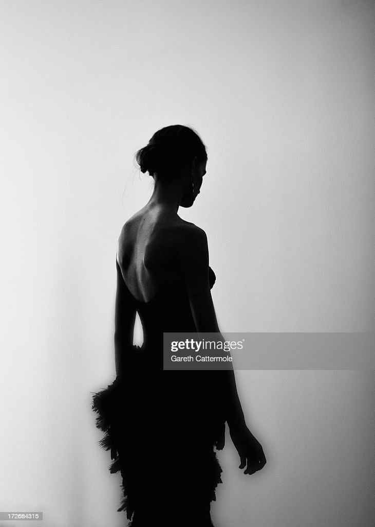 A model backstage before the Laurence Xu show as part of Paris Fashion Week Haute-Couture Fall/Winter 2013-2014 at Pavillon Cambon on July 4, 2013 in Paris, France.