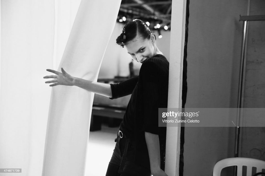 A model backstage before the Pascal Millet show as part of the Paris Fashion Week Womenswear Fall/Winter 2014-2015 at Palais de Tokyo on February 25, 2014 in Paris, France.