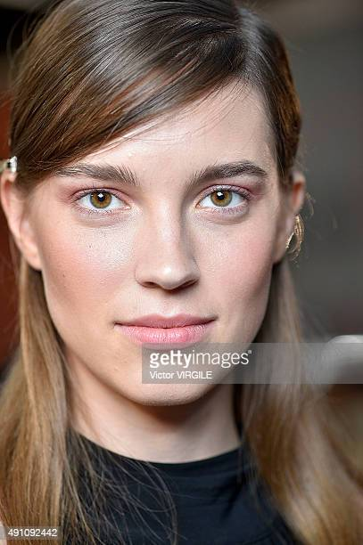 A model backstage during the Andrew GN Ready to Wear show as part of the Paris Fashion Week Womenswear Spring/Summer 2016 on October 2 2015 in Paris...