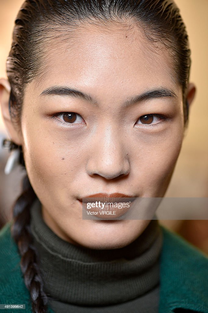 A model backstage during the Kenzo Ready to Wear show as part of the Paris Fashion Week Womenswear Spring/Summer 2016 on October 4 2015 in Paris...
