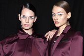 A model backstage during the Kenzo show as part of the Paris Fashion Week Womenswear Fall/Winter 2015/2016 at Paris Event Center on March 8 2015 in...