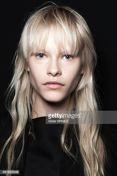 A model backstage during the Rick Owens Ready to Wear show as part of the Paris Fashion Week Womenswear Spring/Summer 2016 on October 1 2015 in Paris...