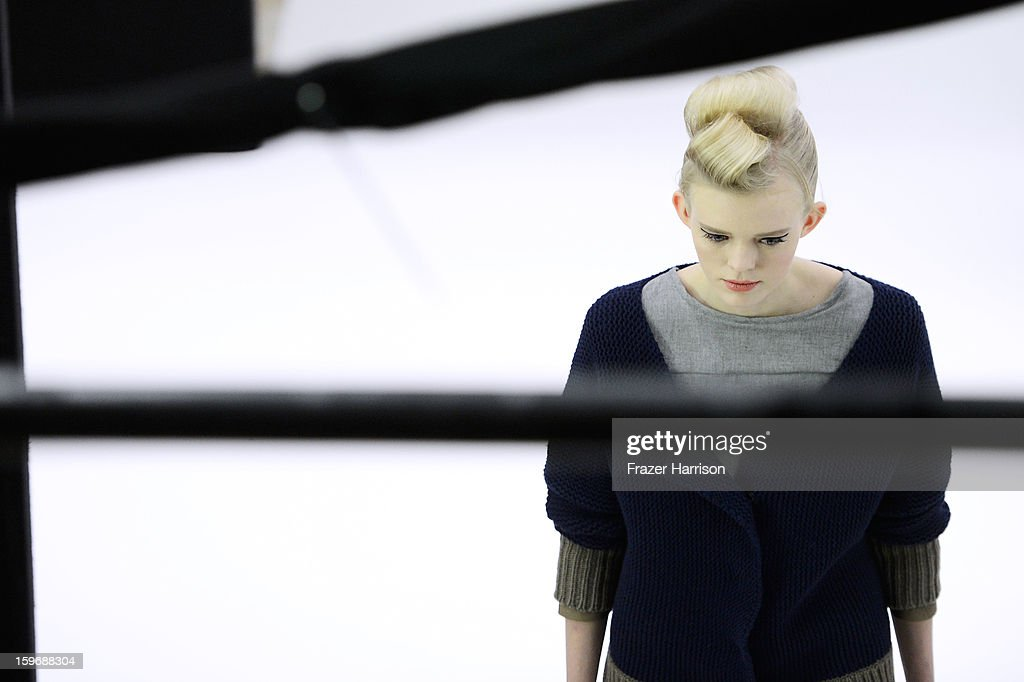 A model backstage during the Zoe Ona Autumn/Winter 2013/14 fashion show at Mercedes-Benz Fashion Week Berlin at Brandenburg Gate on January 18, 2013 in Berlin, Germany.