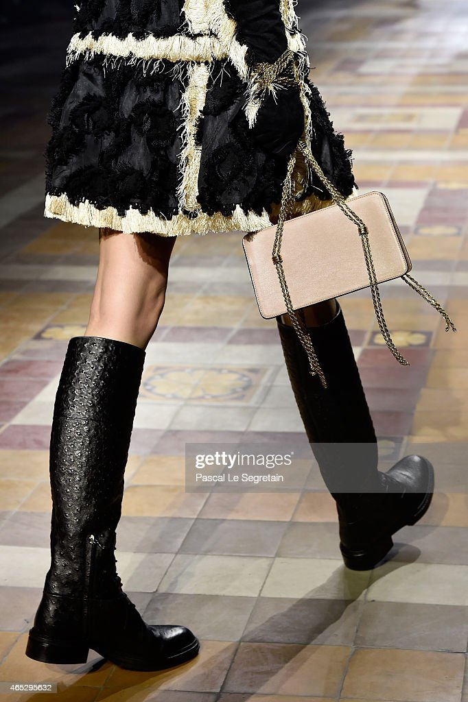 A model bag and shoe detail walks the runway during the Lanvin show as part of the Paris Fashion Week Womenswear Fall/Winter 2015/2016 on March 5...