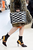 A model bag and shoe details walks the runway during the Louis Vuitton show as part of the Paris Fashion Week Womenswear Fall/Winter 2015/2016 on...
