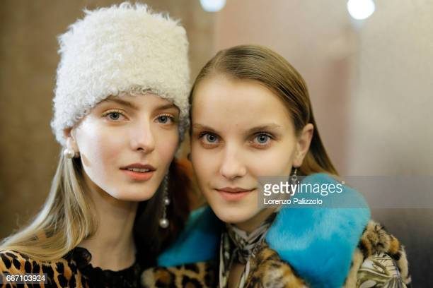 A model bag detail is seen backstage ahead of the Blugirl show during Milan Fashion Week Fall/Winter 2017/18 on February 24 2017 in Milan Italy