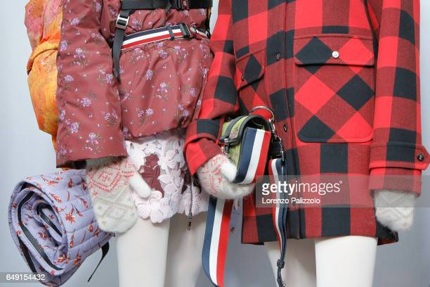 A model bag detail is seen backstage before the Moncler Gamme Rouge show as part of the Paris Fashion Week Womenswear Fall/Winter 2017/2018 on March...