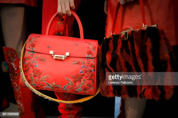 A model bag detail is seen backstage before the Shiatzy Chen show as part of the Paris Fashion Week Womenswear Fall/Winter 2017/2018 on March 7 2017...