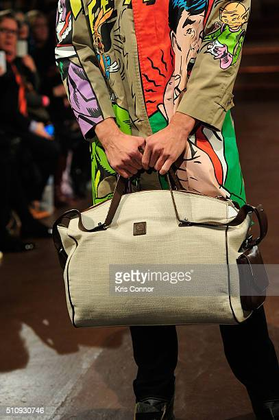 A model bag detail walks the runway at House of Byfield show during Art Hearts Fashion NYFW Fall/Winter 2016 at The Angel Orensanz Foundation on...